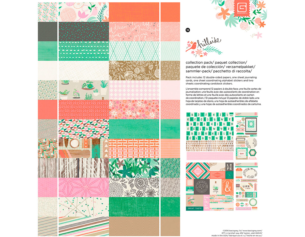 C-HIL-5087 Set 12 papeles 1 hoja tarjetas y 3 hojas adhesivas Colection Pack HILLSIDE Basic Grey