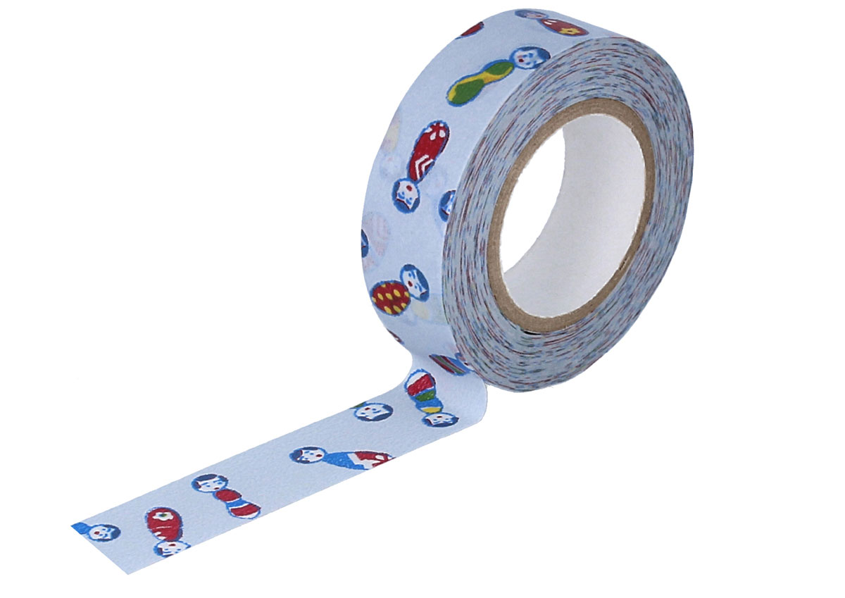 CL26338-04 Cinta adhesiva masking tape washi kokeshi gris Classiky s