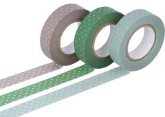 CL45026-02 Set 3 cintas adhesivas masking tape washi puntitos colores surtidos Classiky s