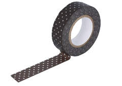 CL45028-05 Cinta adhesiva masking tape washi puntitos marron oscuro Classiky s