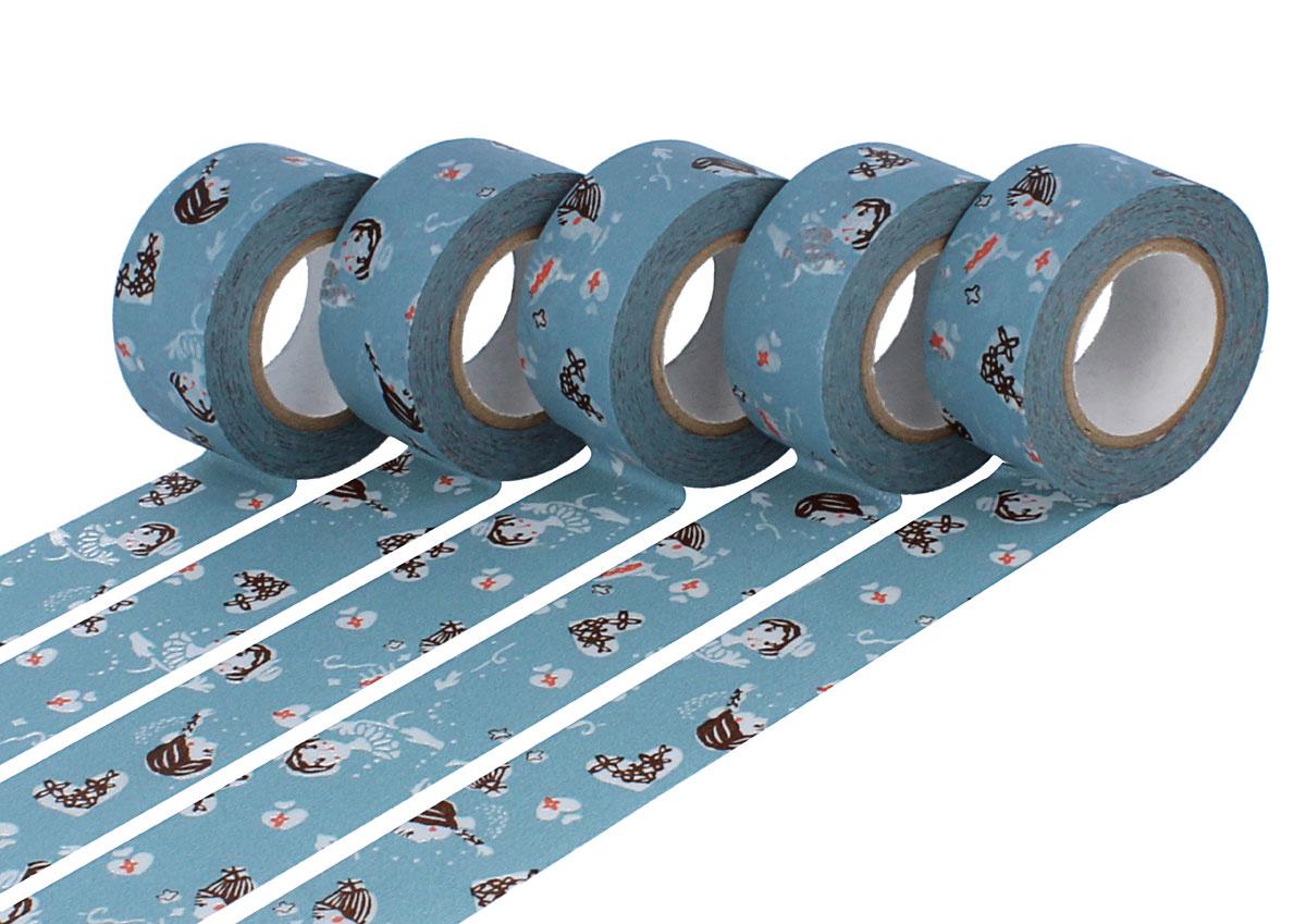 CL45321-04 Set 5 cintas adhesivas masking tape washi girls Asagi azul Classiky s