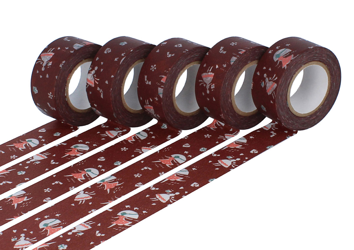 CL45321-11 Set 5 cintas adhesivas masking tape washi love letter marron Classiky s