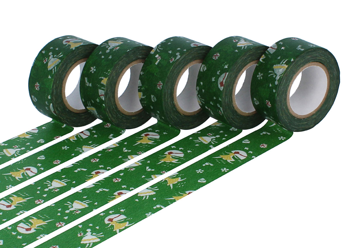 CL45321-12 Set 5 cintas adhesivas masking tape washi love letter verde Classiky s