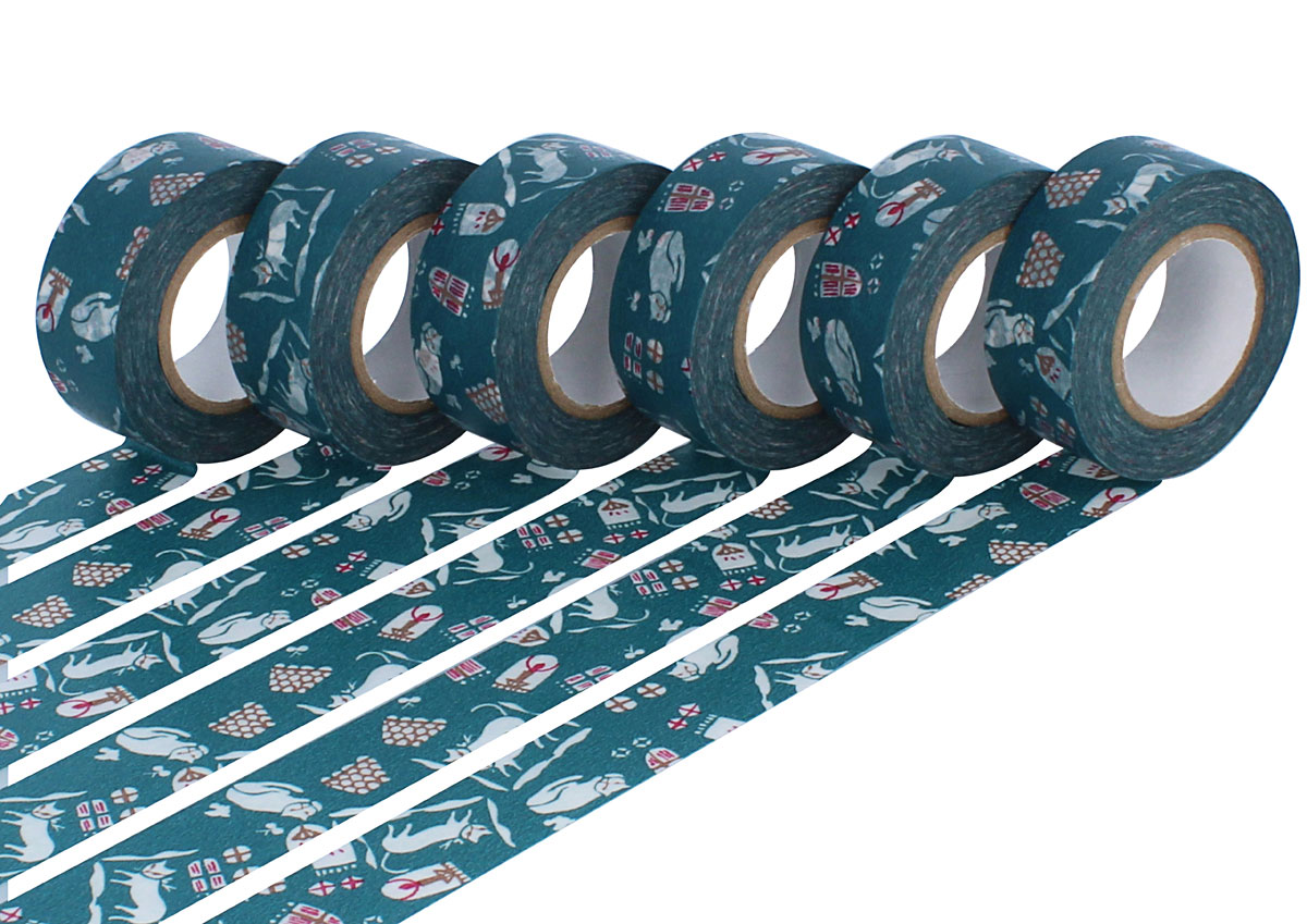 CL45321-16 Set 6 cintas adhesivas masking tape washi cats Nando azul Classiky s