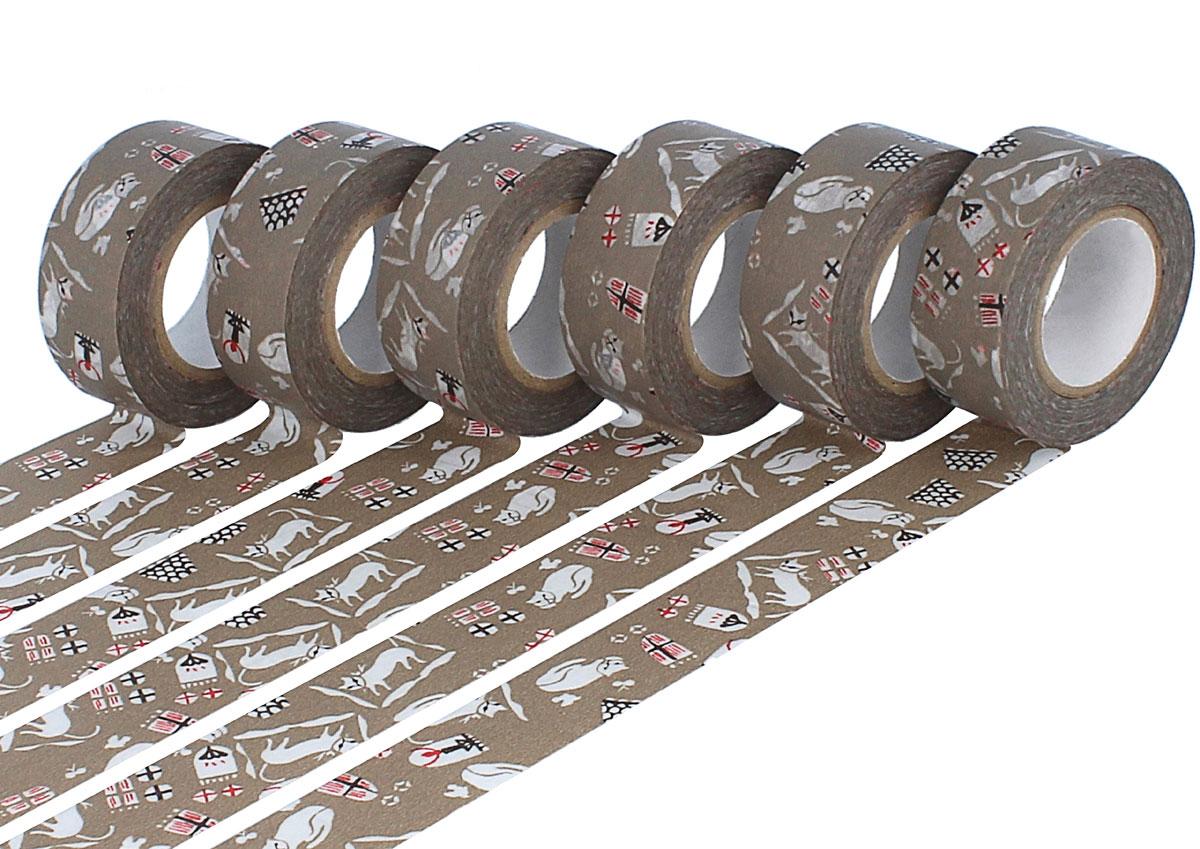 CL45321-17 Set 6 cintas adhesivas masking tape washi cats Kasshoku marron Classiky s