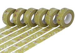 CL45321-18 Set 6 cintas adhesivas masking tape washi cats Maccha verde Classiky s