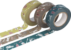 CL45322-05 Set 3 cintas adhesivas masking tape washi cats colores surtidos Classiky s