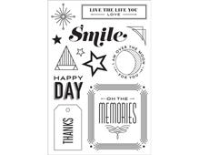 CL823 Set 12 sellos acrilicos transparentes Happy Day Hero arts