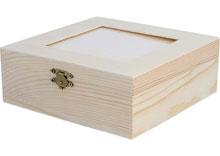 D7632 Caja madera pino macizo con vidrio 16X16X6cm SEGUNDA CALIDAD Innspiro