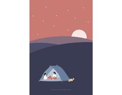 DAC100 Tarjeta ilustracion camping Dailylike