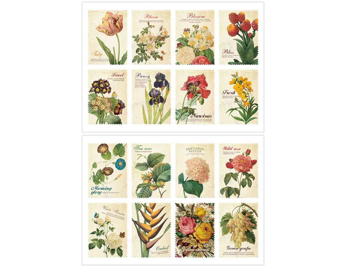 DASS09 Sellos papel adhesivos flower disenos surtidos Dailylike