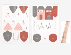 DGIT03 Set 2 hojas de carton doble cara con etiquetas pre-cortadas At home Dailylike