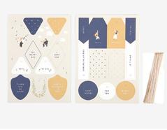 DGIT04 Set 2 hojas de carton doble cara con etiquetas pre-cortadas Festival Dailylike