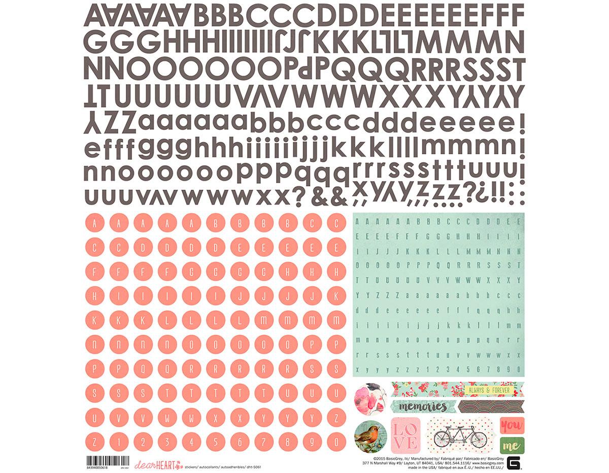DHT-5061 Pegatinas alfabeto DEAR HEART Basic Grey