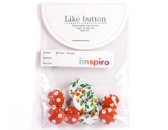 DLB43 Set 10 botones algodon strawberry Dailylike