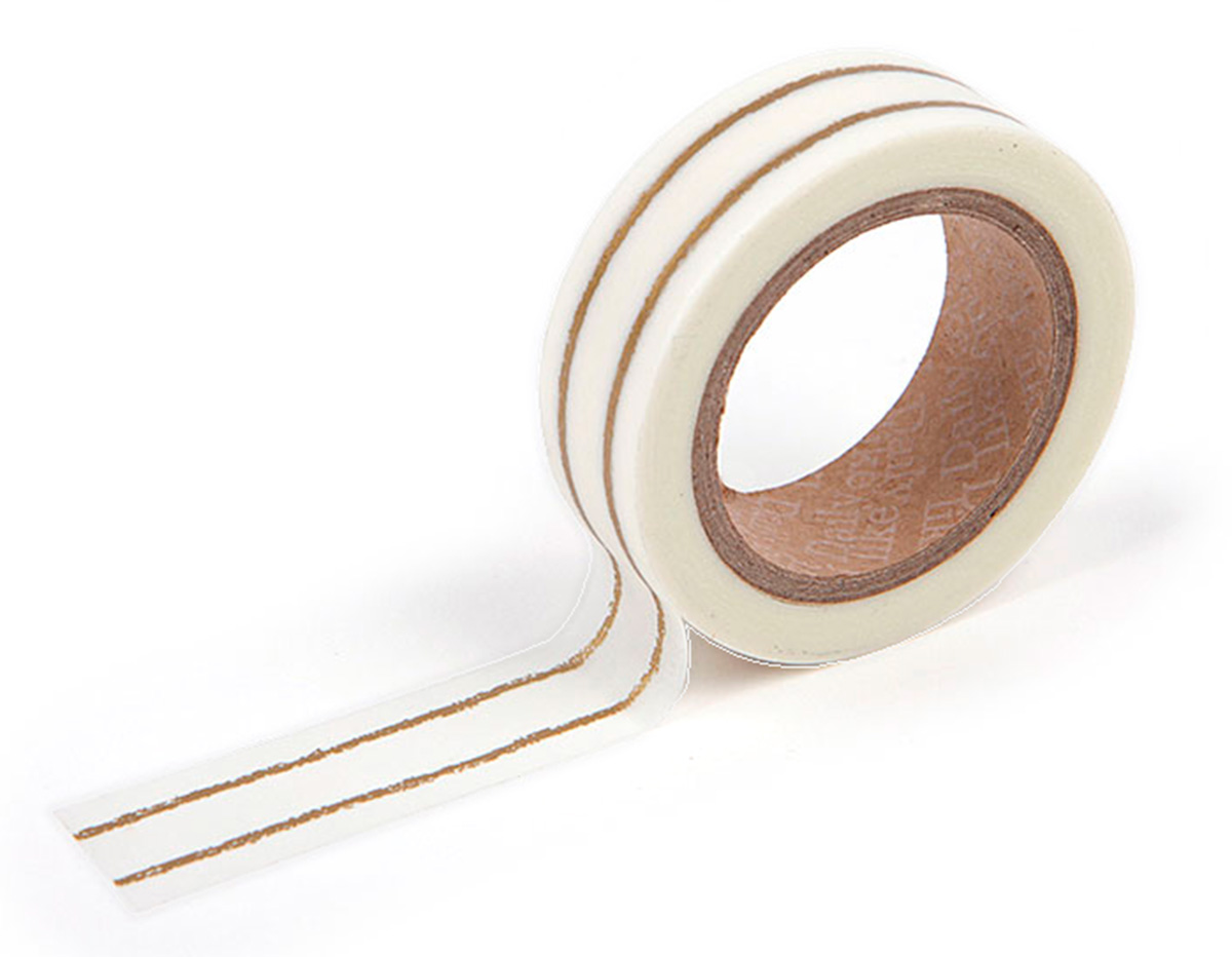 DMT1S25 Cinta adhesiva masking tape washi double line gold Dailylike