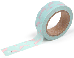 DMT1S32 Cinta adhesiva masking tape washi pink dolphin Dailylike