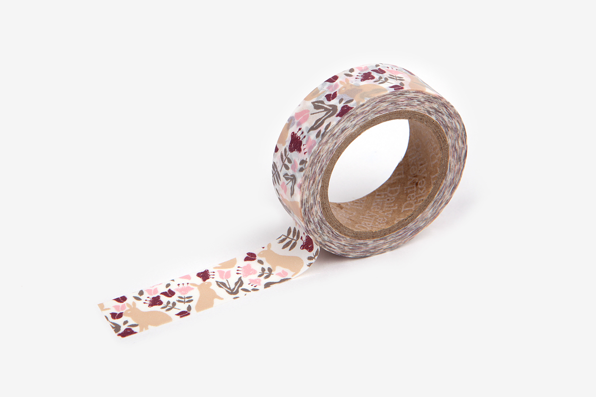 DMT1S60 Cinta adhesiva masking tape washi botanic garden rabbit Dailylike