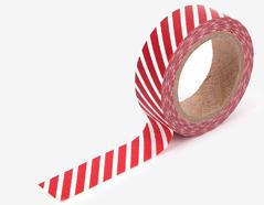 DMT1S74 Cinta adhesiva masking tape washi oblique line red Dailylike