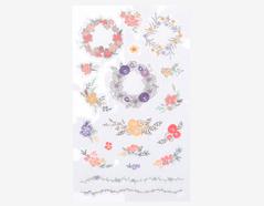 DPS15 Pegatinas pvc daily sticker flower wreath formas y disenos surtidos Dailylike