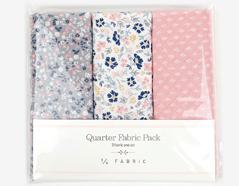 DQF88 Set 3 telas precortadas quarter pack de algodon a warm heart Dailylike