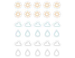 DSTC64 Pegatinas papel climatologia line 01 en hojas Dailylike