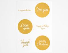 DTS05 Etiquetas papel adhesivas mensaje oro disenos surtidos Dailylike
