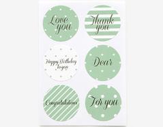 DTS07 Etiquetas papel adhesivas mensaje vol 3 verde disenos surtidos Dailylike