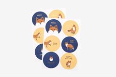 DTS10 Etiquetas papel adhesivas redondas winter fox disenos surtidos Dailylike