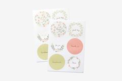 DTS15 Etiquetas papel adhesivas redondas citrus flower disenos surtidos Dailylike