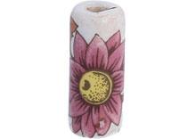 DZ213602 Cuenta ceramica cilindro decorada blanca con flor rosa diam 12x30mm 50u Innspiro