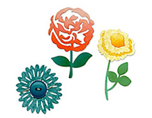 E658507 SIZZLITS 3PK-FLOWERS TREES VINES-Die Set 3PK - Garden Variety Set BY SCRAPPY CAT Sizzix