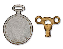 E658561 M S 2PK-HOLIDAY TRAVEL-Mini Clock Key Pocket Watch BY TIM HOLTZ Sizzix
