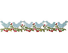 E658734 DECORATIVE STRIP-CHRISTMAS-Bower Birds by BRENDA WALTON END CAP Sizzix