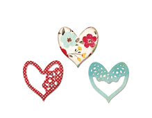 E658916 Set 3 troqueles THINLITS Alluring Hearts by Scrappy Cat Sizzix