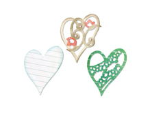 E658917 Set 3 troqueles THINLITS Layers of Love by Scrappy Cat Sizzix