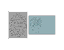 E658969 Set placas textura TEXTURED IMPRESSIONS Flowers perfume label by Jen Long Sizzix