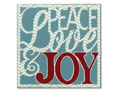 E659588 Set 4 troqueles THINLITS Card front peace love joy by Rachael Bright Sizzix