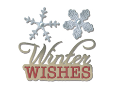 E660663 Set 2 troqueles THINLITS Phrase winter wishes snowflakes by Jen Long Sizzix
