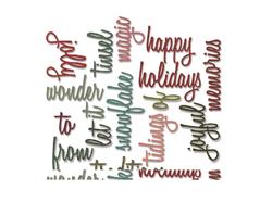 E660977 Set 16 troqueles THINLITS Christmas words script by Tim Holtz Sizzix