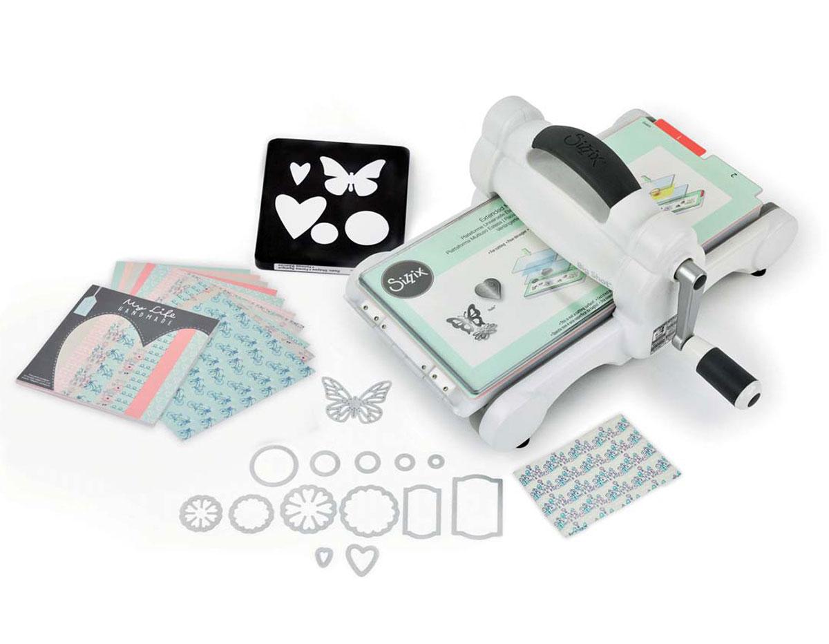 E661545 1-Maquina para troquelar BIG SHOT starter kit White and Grey coleccion My Life Handmade boca 15cm Sizzix