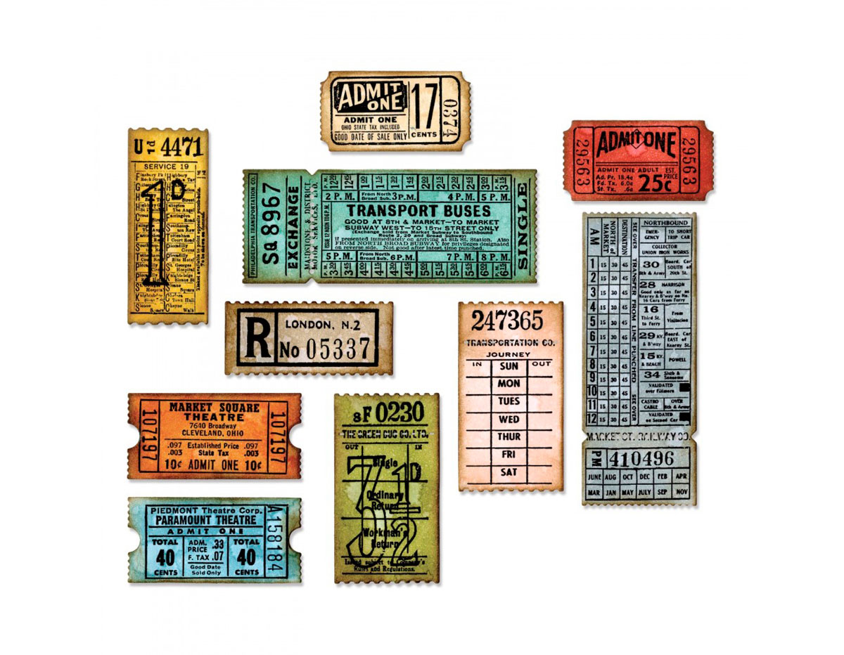 E662698 Set 6 troqueles THINLITS Ticket booth by Tim Holtz Sizzix