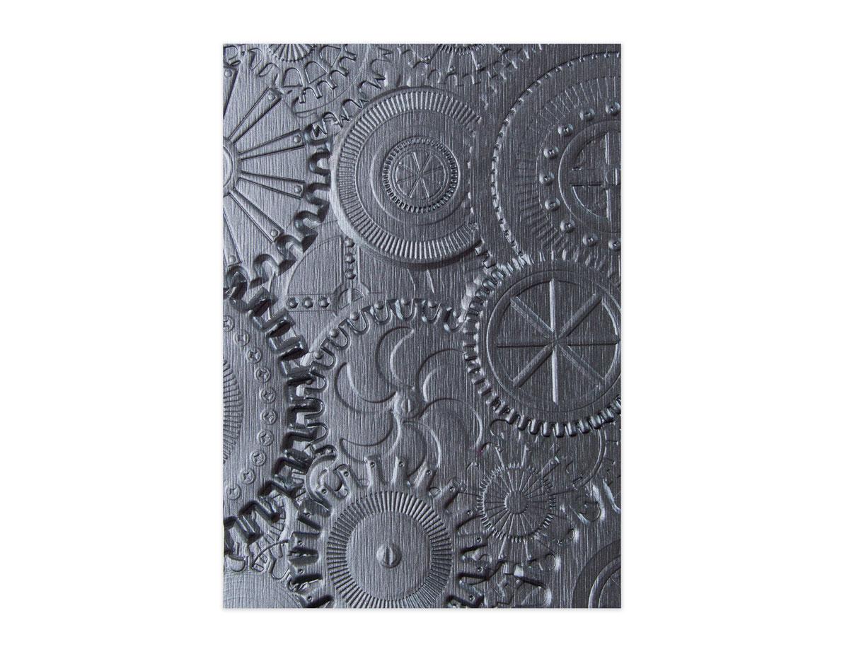 E662715 Placa de textura 3D TEXTURED IMPRESSIONS Gears by Tim Holtz Sizzix
