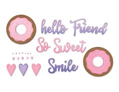 E662723 Set 9 troqueles THINLITS Phrases sweet donut by Jen Long Sizzix