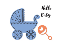 E662906 Set 2 troqueles FRAMELITS con sellos Baby carriage by Jen Long Sizzix