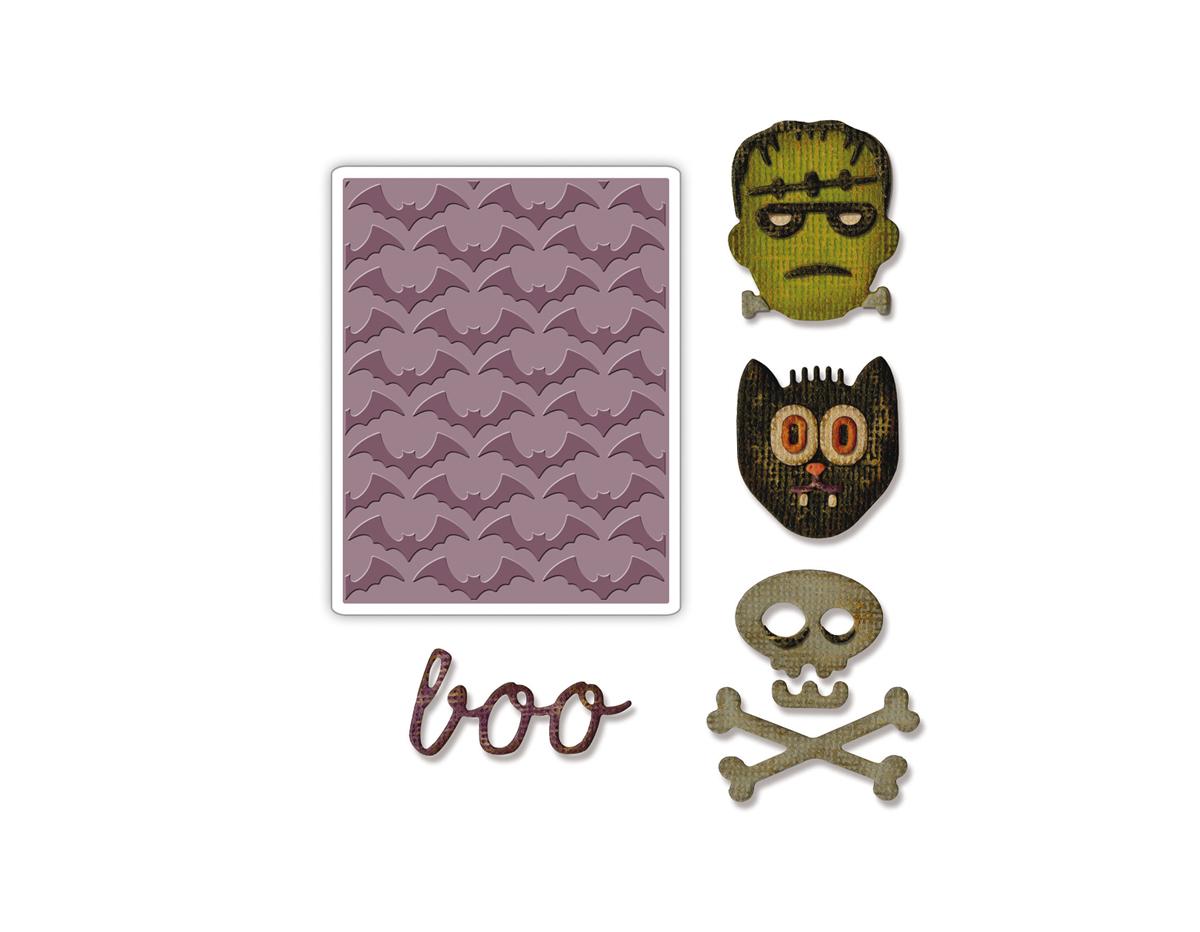E663072 Mini set 4 troqueles THINLITS con 1 TEXTURED IMPRESSIONS Halloween by Tim Holtz Sizzix