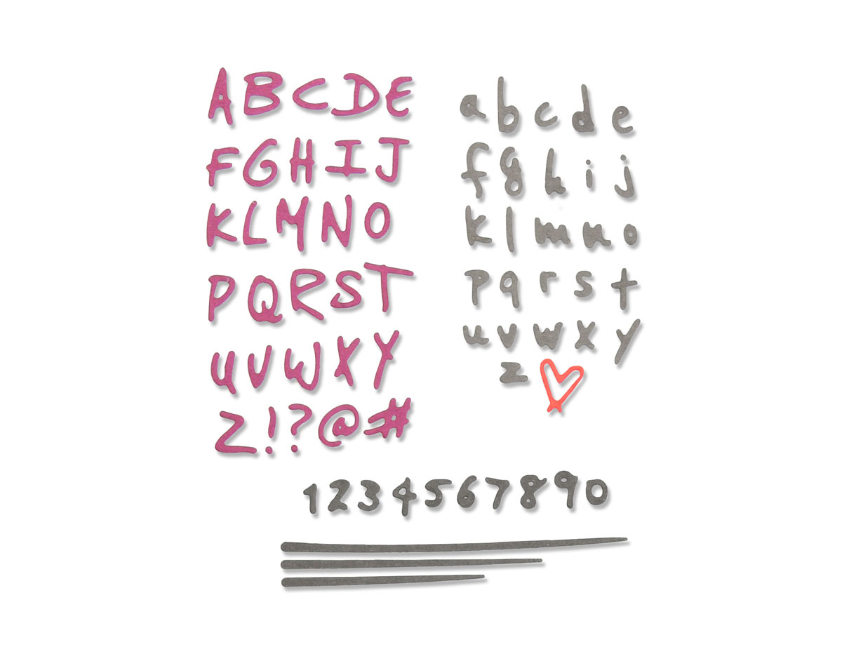 E663408 Set 4 troqueles THINLITS Doodle alphabet y numbers by Sophie Guilar Sizzix
