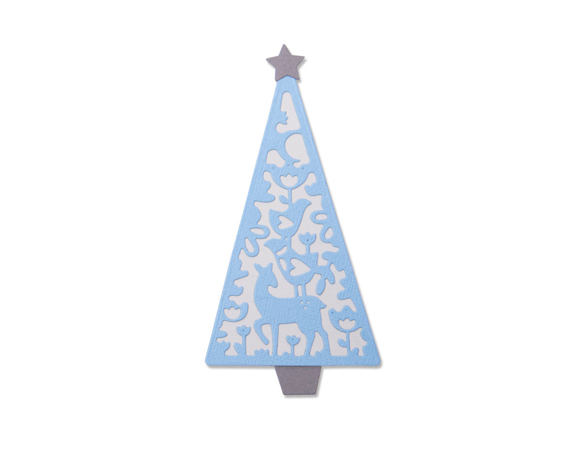 E663442 Set 4 troqueles THINLITS Folk Christmas tree by Lisa Jones Sizzix
