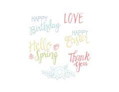 E663587 Set 6 sellos acrilicos Spring phrases by Lynda Kanase Sizzix