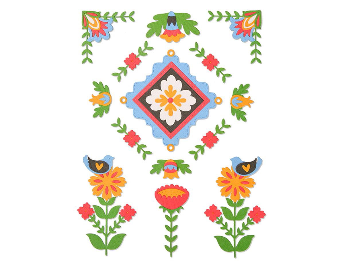 E663607 Set 18 troqueles THINLITS Folk art elements by Courtney Chilson Sizzix